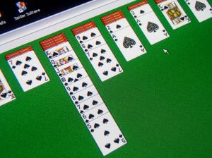 A typical Spider Solitaire Table